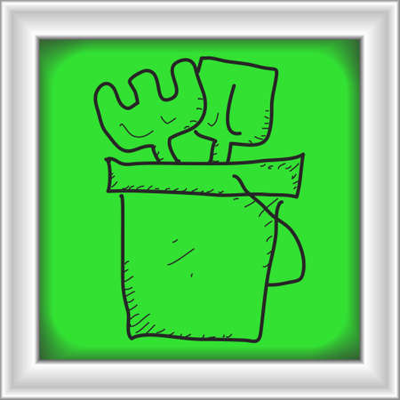 bucket and spade: Simple hand drawn doodle of a bucket and spade