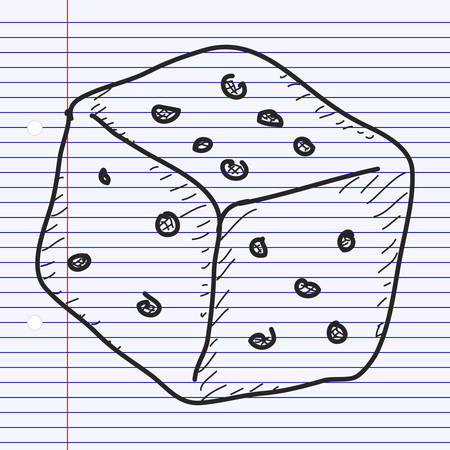 quick drawing: Simple hand drawn doodle of a dice