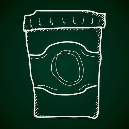 takeaway: Simple hand drawn doodle of a takeaway coffee