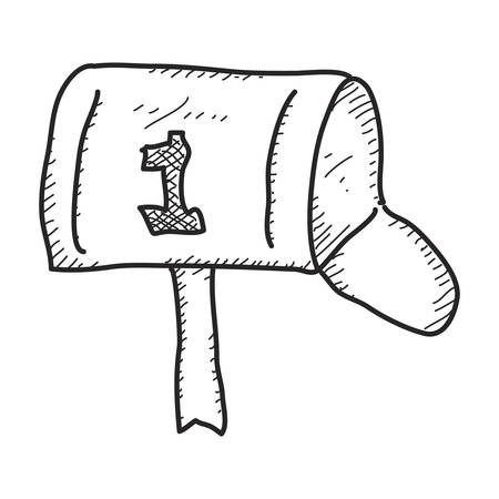quick drawing: Simple hand drawn doodle of a mailbox
