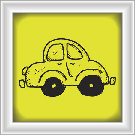 roadway: Simple hand drawn doodle of a car