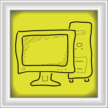 note pc: Simple hand drawn doodle of a computer
