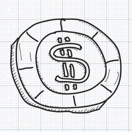 gambling chip: Simple hand drawn doodle of a gambling chip