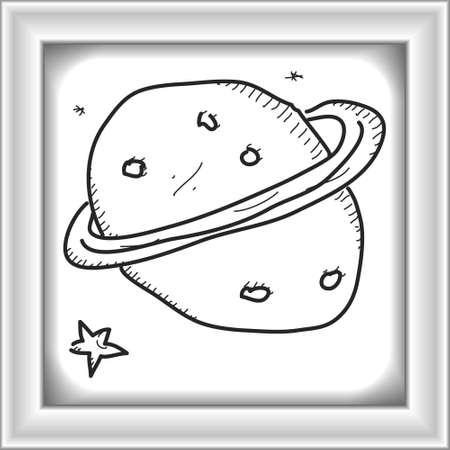 ink illustration: Simple hand drawn doodle of a planet Illustration