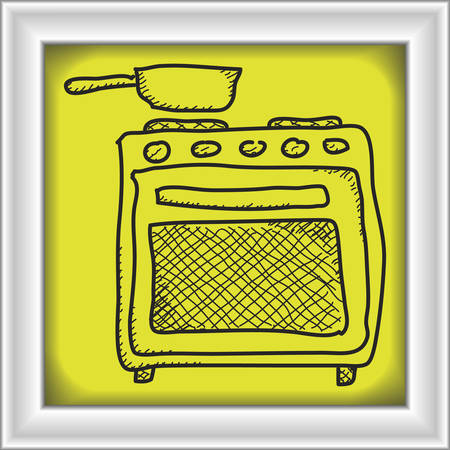 oven range: Simple hand drawn doodle of an oven