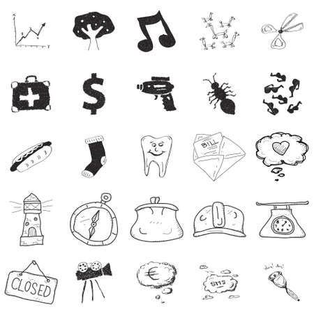 Set of 25 various hand drawn doodle illustrations
