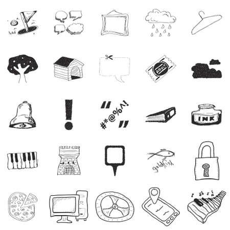 Set of 25 hand drawn doodle illustrations Illustration