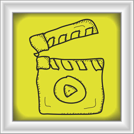 clap: Simple hand drawn doodle of a clap board Illustration