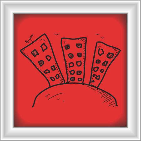 block of flats: Simple hand drawn doodle of a block of flats