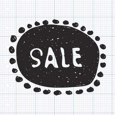 hand tag: Simple hand drawn illustration of a sale tag