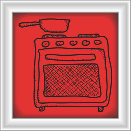 kitchen range: Simple hand drawn doodle of an oven