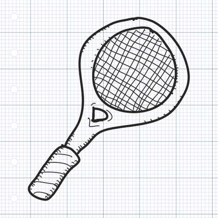 quirky: Simple hand drawn illustration of a tennins racket