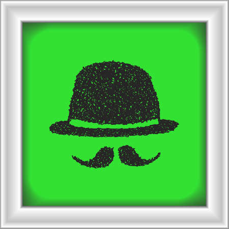 bowler hat: Simple hand drawn doodle of a bowler hat and moustache