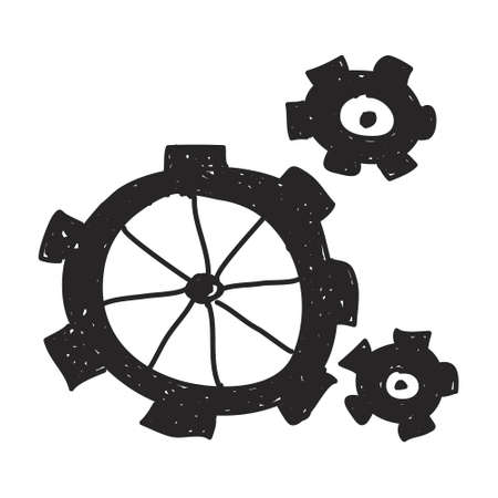industrial design: Simple hand drawn doodle of some cogs