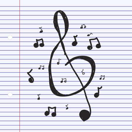 dibujado a mano simple garabato de símbolos musicales