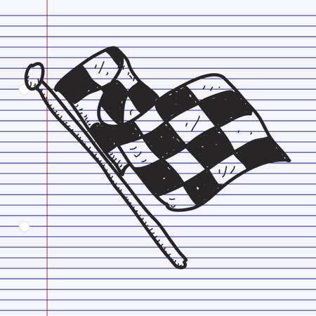 checker flag: Simple hand drawn illustration of a checkered flag