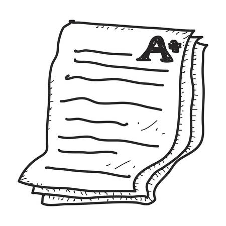 Simple doodle of a hand drawn exam paper showing an A plus