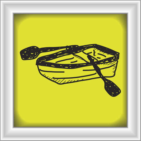 rowing boat: Simple doodle of a hand drawn rowing boat