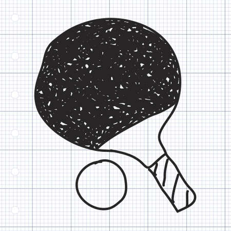 able: Simple doodle of a hand drawn able tennis bat Illustration