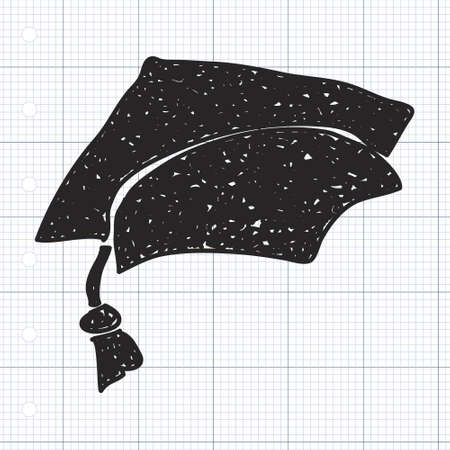 mortar hat: Simple doodle of a hand drawn mortar hat