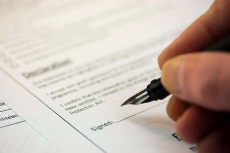 application university: Close up of a fountain pen on a university application form