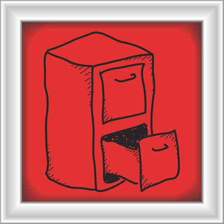 filing: Simple doodle of a hand drawn filing cabinet Illustration