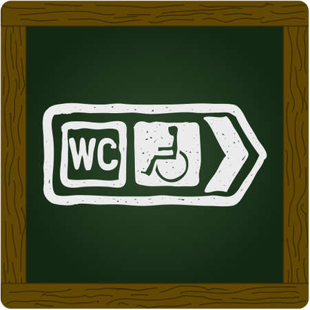 disabled access: Simple hand drawn illustration of a road sign showing direction to toilet with disabled access