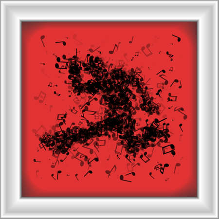man made: Dancing man made of different music notes