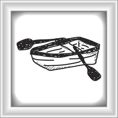 doodle simple d'un bateau d'aviron dessiné à la main Vecteurs