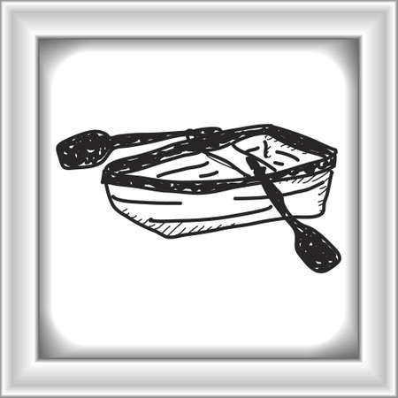 rows: Simple doodle of a hand drawn rowing boat