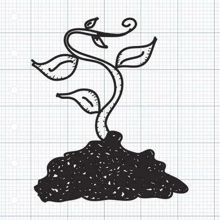 plant growing: Simple doodle of a hand drawn plant growing Illustration