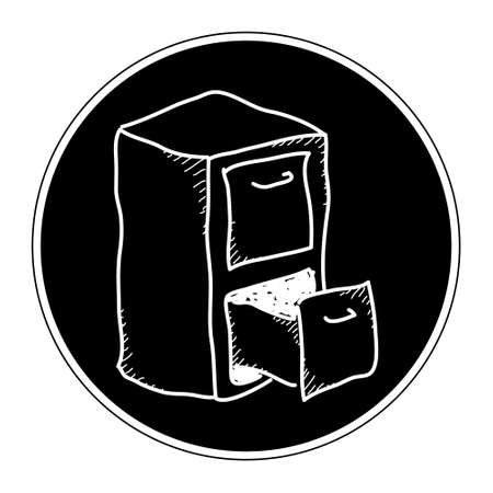 filing cabinet: Simple doodle of a hand drawn filing cabinet Illustration