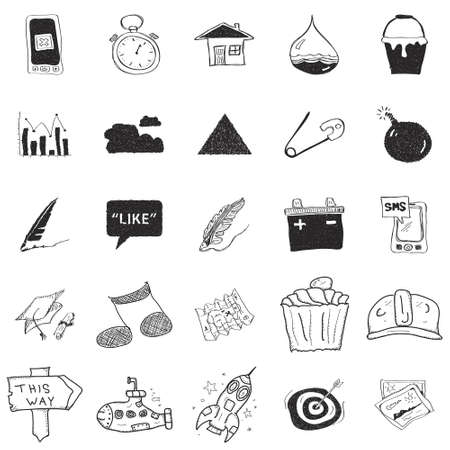 Set of 25 hand drawn doodle illustrations