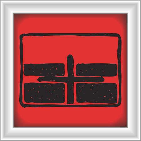 cruce de caminos: Sencilla dibujado a mano ilustración de una señal de tráfico que muestra cruce Vectores