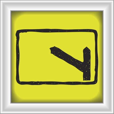off highway: Simple hand drawn illustration of a road sign showing turn off