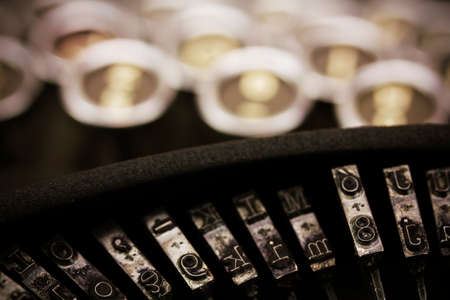 type writer: Close up of keys on an old vintage type writer. Retro filter applied.