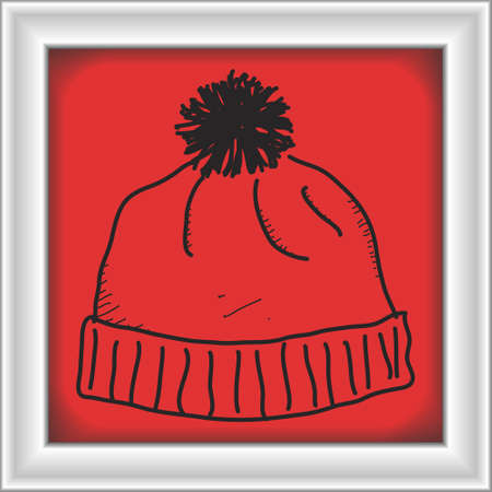 beanie: Simple hand drawn doodle of a bobble hat