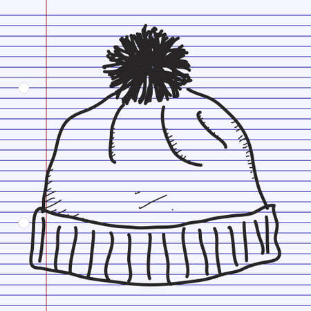woolly: Simple hand drawn doodle of a bobble hat
