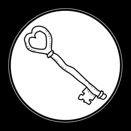 quick drawing: Simple hand drawn doodle of a key