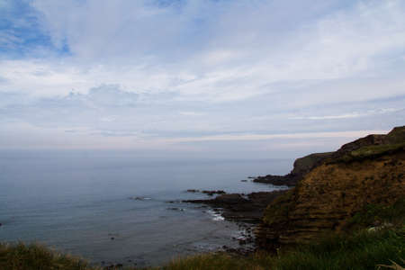 cornwall: View over the coastline near Widemouth Bay in Cornwall Stock Photo