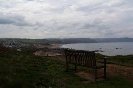cornwall: Bench over looking the coast neaar Bude, Cornwall