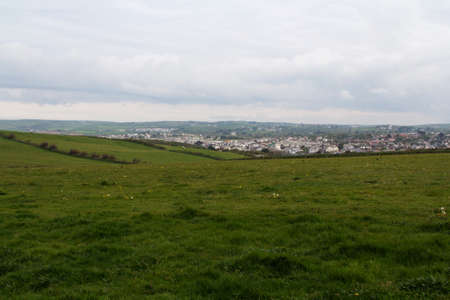 cornwall: View over Bude from the costal path in Cornwall Stock Photo