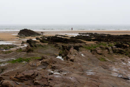 cornwall: Rocks on the shore in Bude, Cornwall Stock Photo