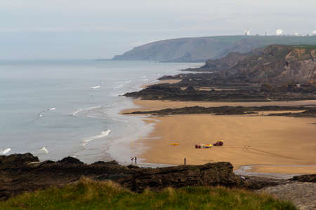 cornwall: View over Summerleaze beach at Bude in Cornwall