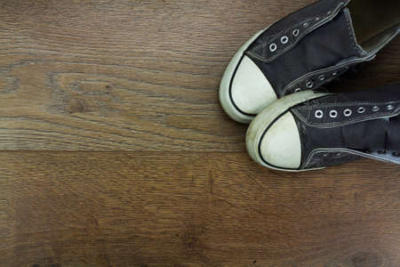 plimsoll: Grey casual shoes on a wooden floor
