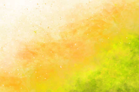 Abstract colourful watercolour background in shades of orange and green