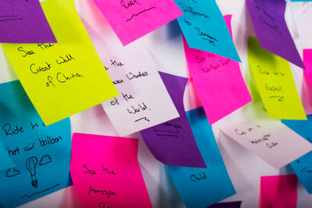 things to do: Colourful sticky notes with things to do