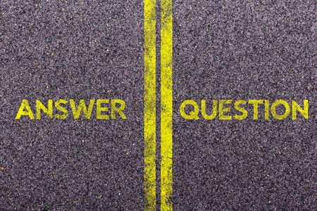Tarmac background with the words answer and question
