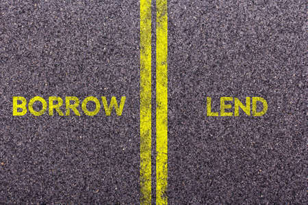 lend: Tarmac background with the words borrow and lend