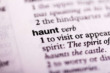 haunt: Blurred close up of the dictionary definition of haunt Stock Photo